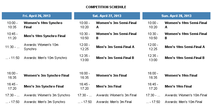 Diving World Series Moscow 2013 schedule