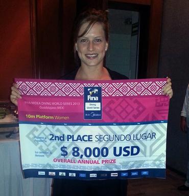 """Noemi Batki con il premio per il 2° posto """"overall"""" delle WS 2013."""