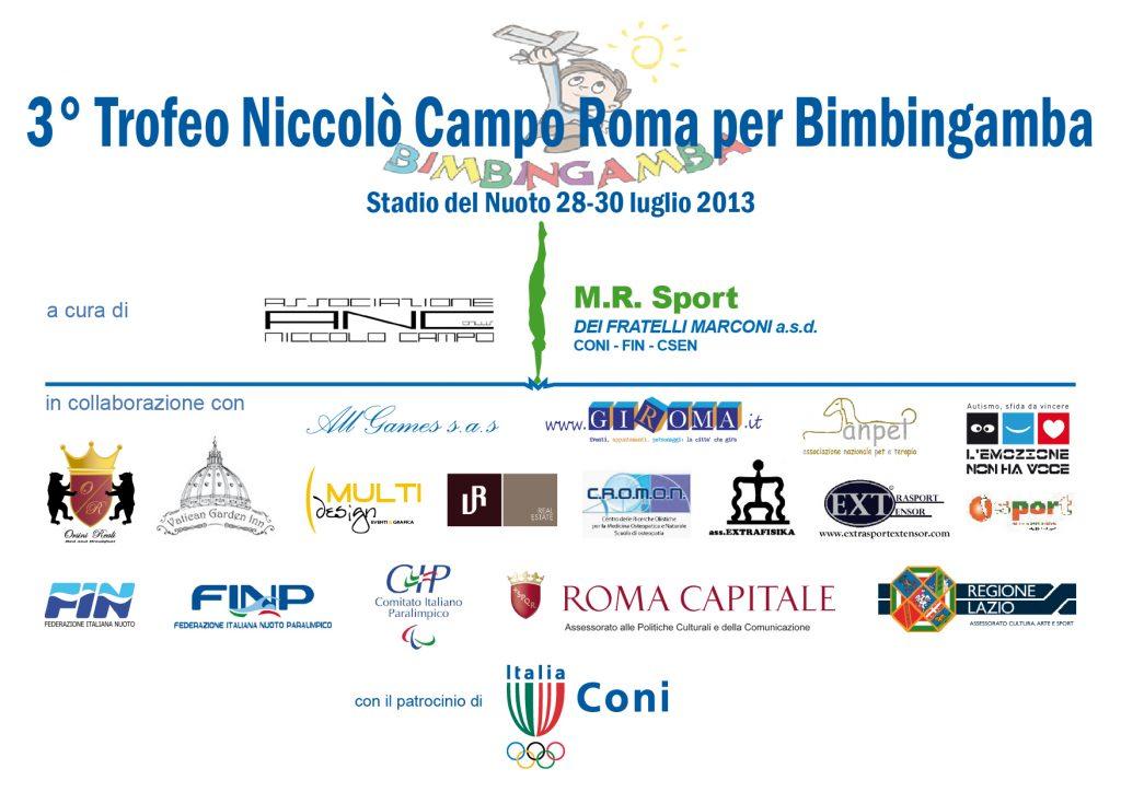 """3° Trofeo Trofeo Niccolò Campo - Roma per Bimbingamba"""": la presentazione, l'invito ed il programma delle gare."""