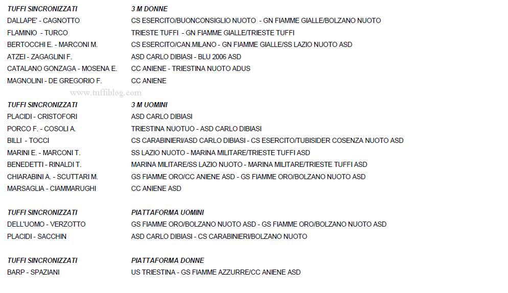 tuffi iscritti sincro assoluti indoor Torino 2014