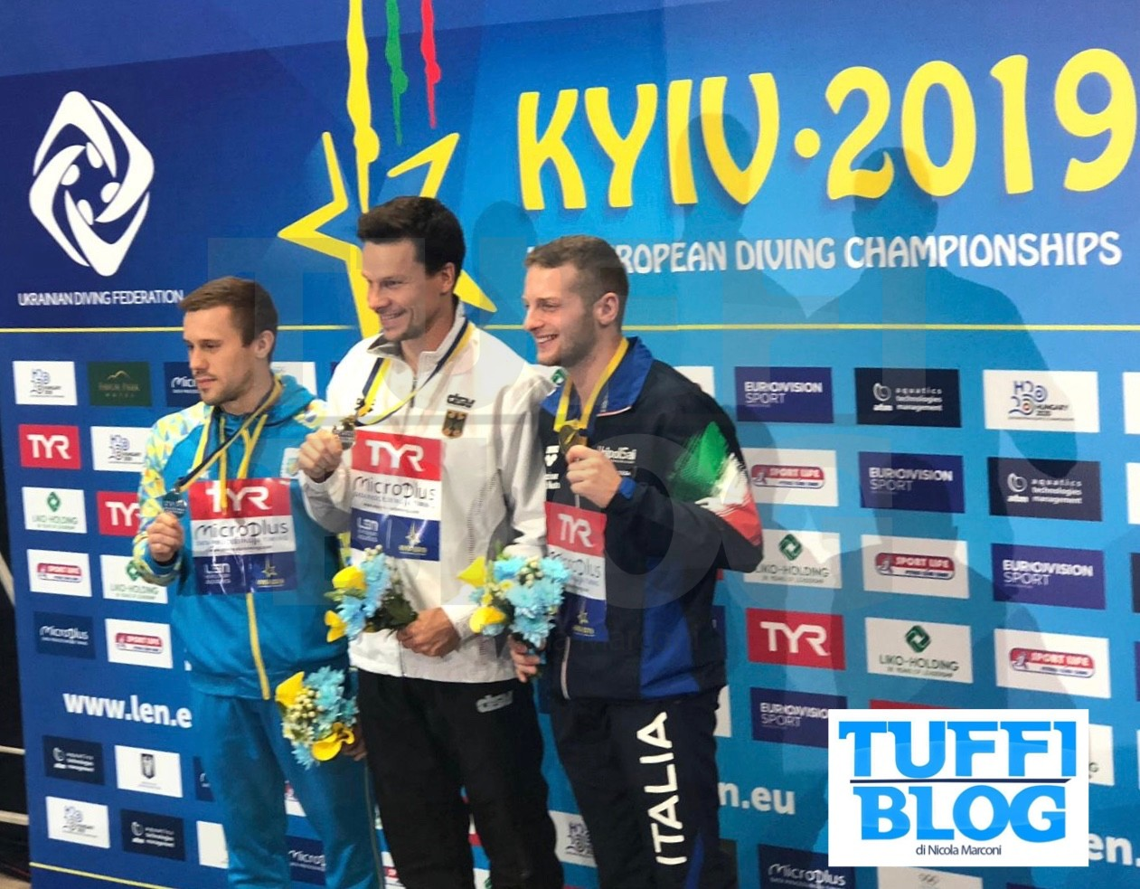 Campionati Europei: Kyiv - finale 1 metro, Marsaglia medaglia di bronzo, Tocci decimo.